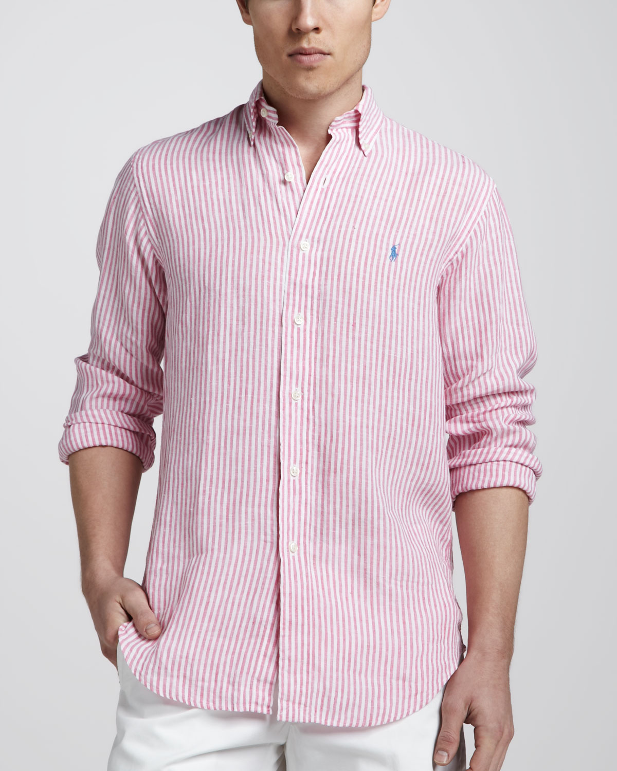 c10140a991 ... coupon code for lyst polo ralph lauren striped linen sport shirt in pink  for men 6b759