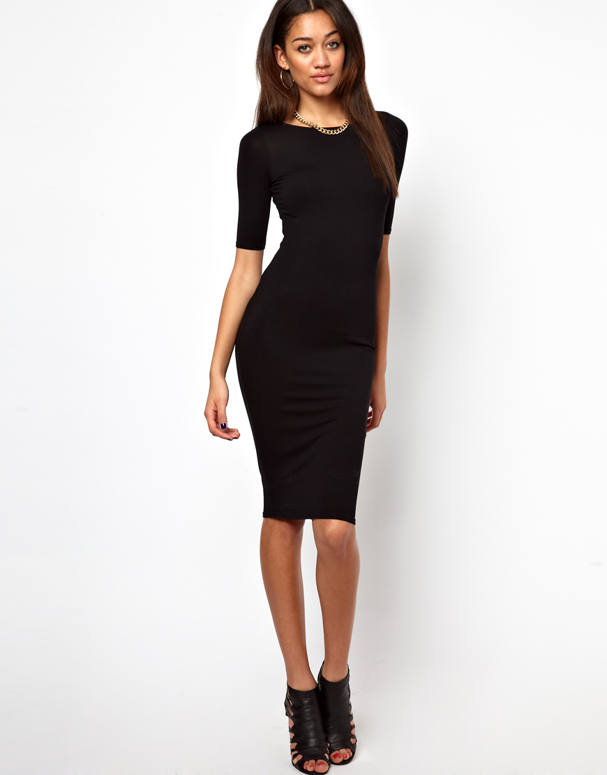 River island long sleeve column midi dress