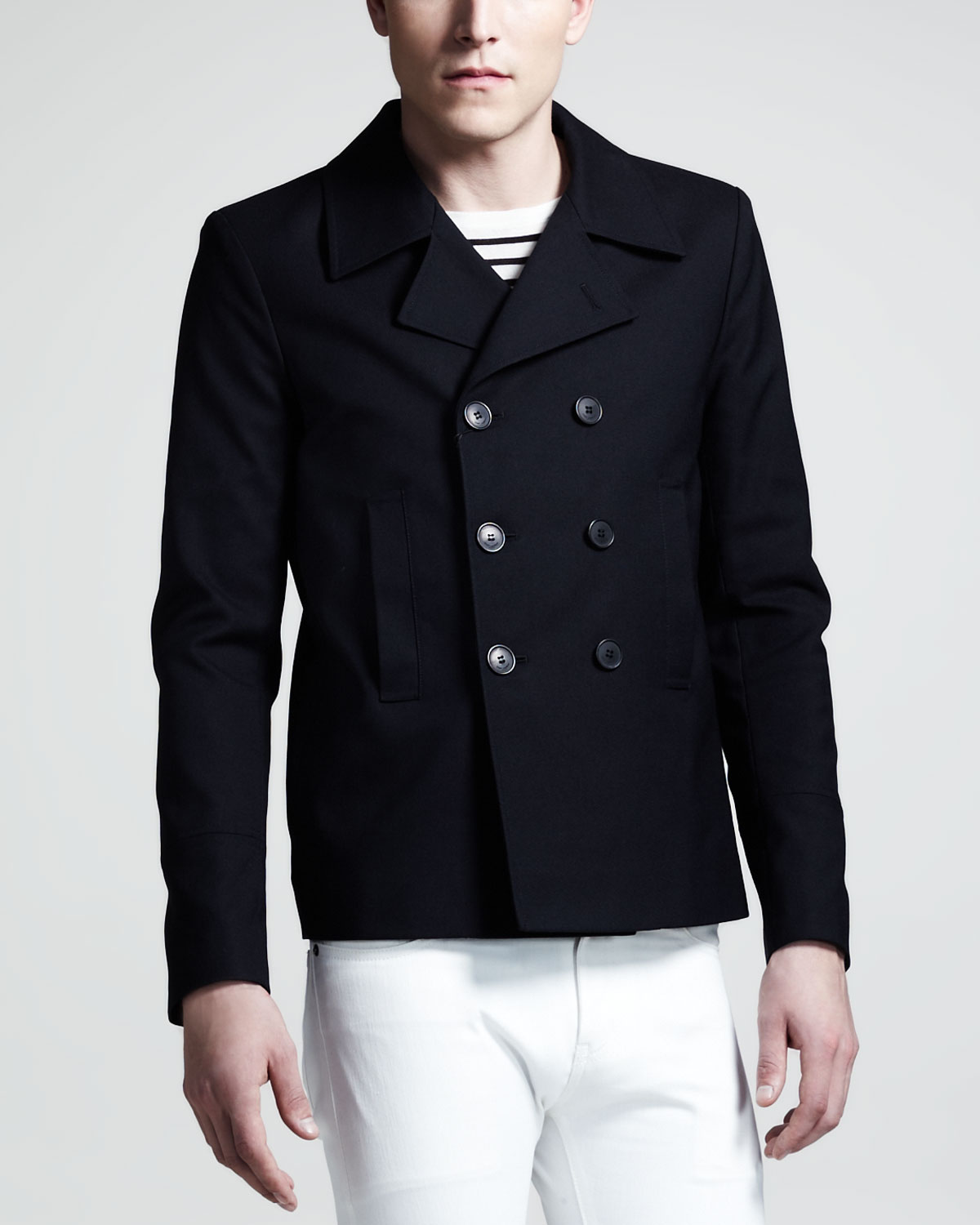 Saint laurent Mens Short Pea Coat in Black for Men | Lyst