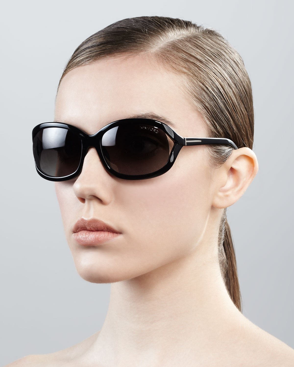96b4c2ef7c2b Lyst - Tom Ford Vivienne Rounded Sunglasses Shiny Black in Black