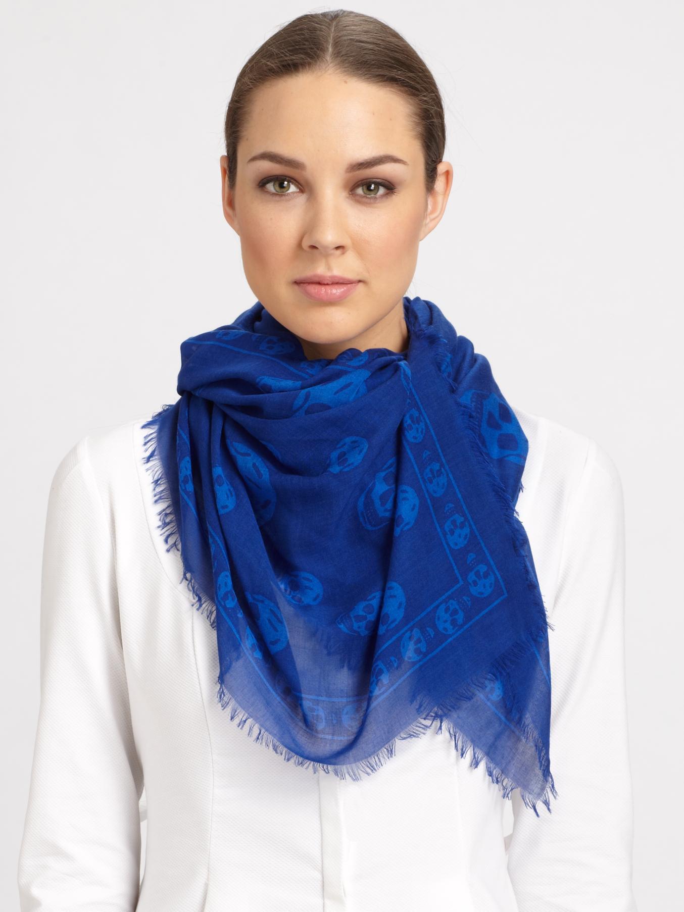 Classic Skull scarf - Blue Alexander McQueen VwLcDo96