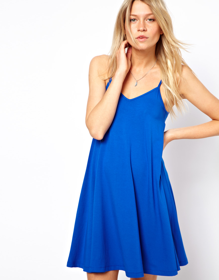 9779429eaa8f ASOS Strappy Cami Dress in Blue - Lyst