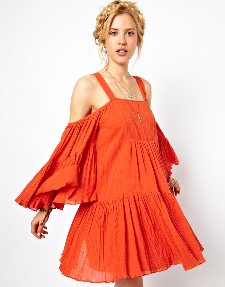 Asos Summer Dress with Cold Shoulder in Cheesecloth in Orange | Lyst