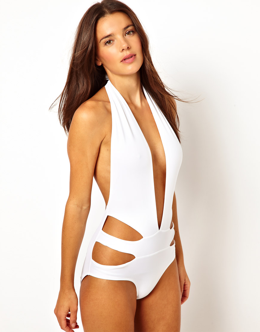 Asos Deep Plunge Cut Out Side Swimsuit In White Lyst