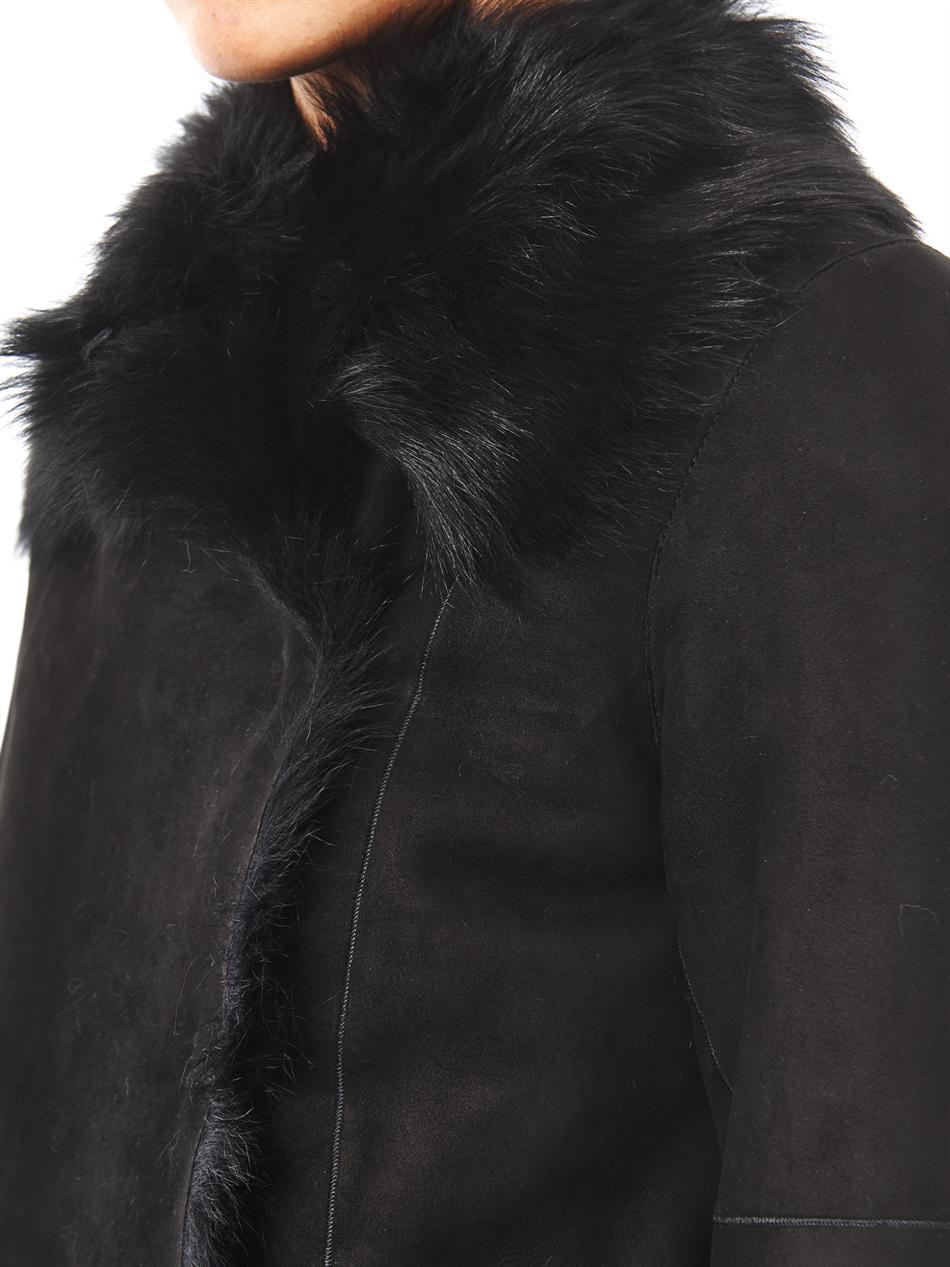 Joseph Anais Shearling Coat in Black | Lyst