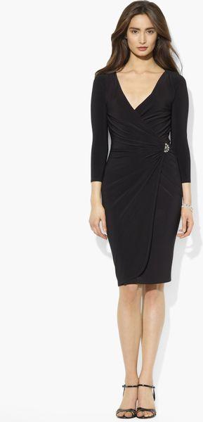 Lauren By Ralph Lauren Faux Wrap Matte Jersey Dress In