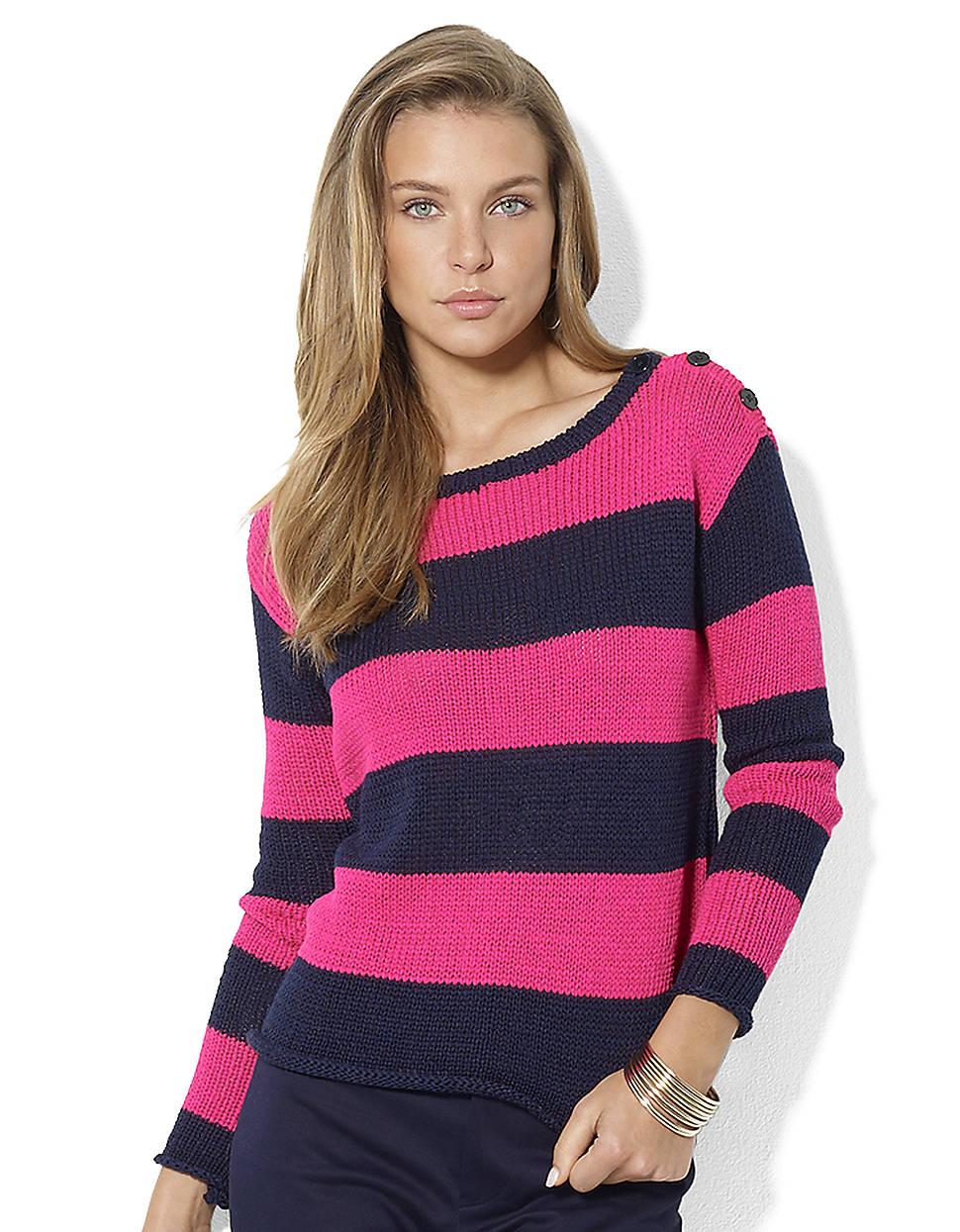 Lauren by ralph lauren Longsleeved Jersey Striped Boatneck ...