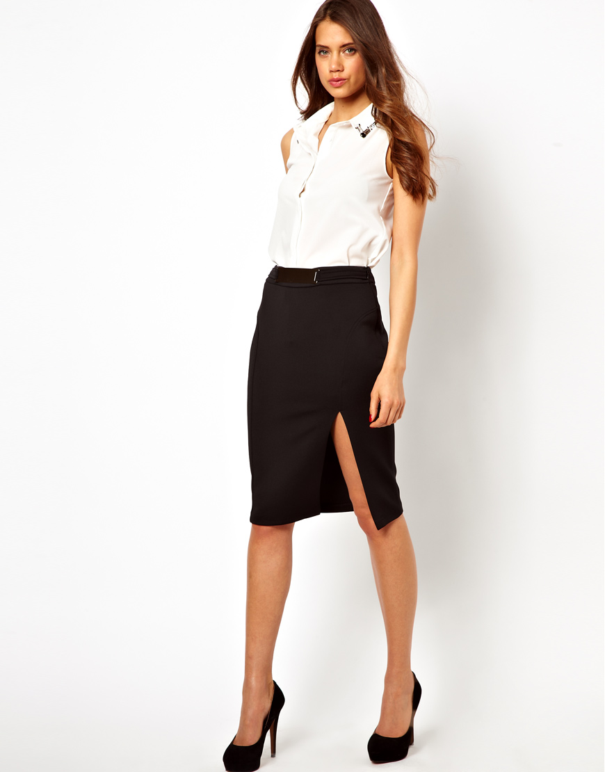 462eff286 Lipsy Pencil Skirt with Metal Plate Belt Detail in Black - Lyst
