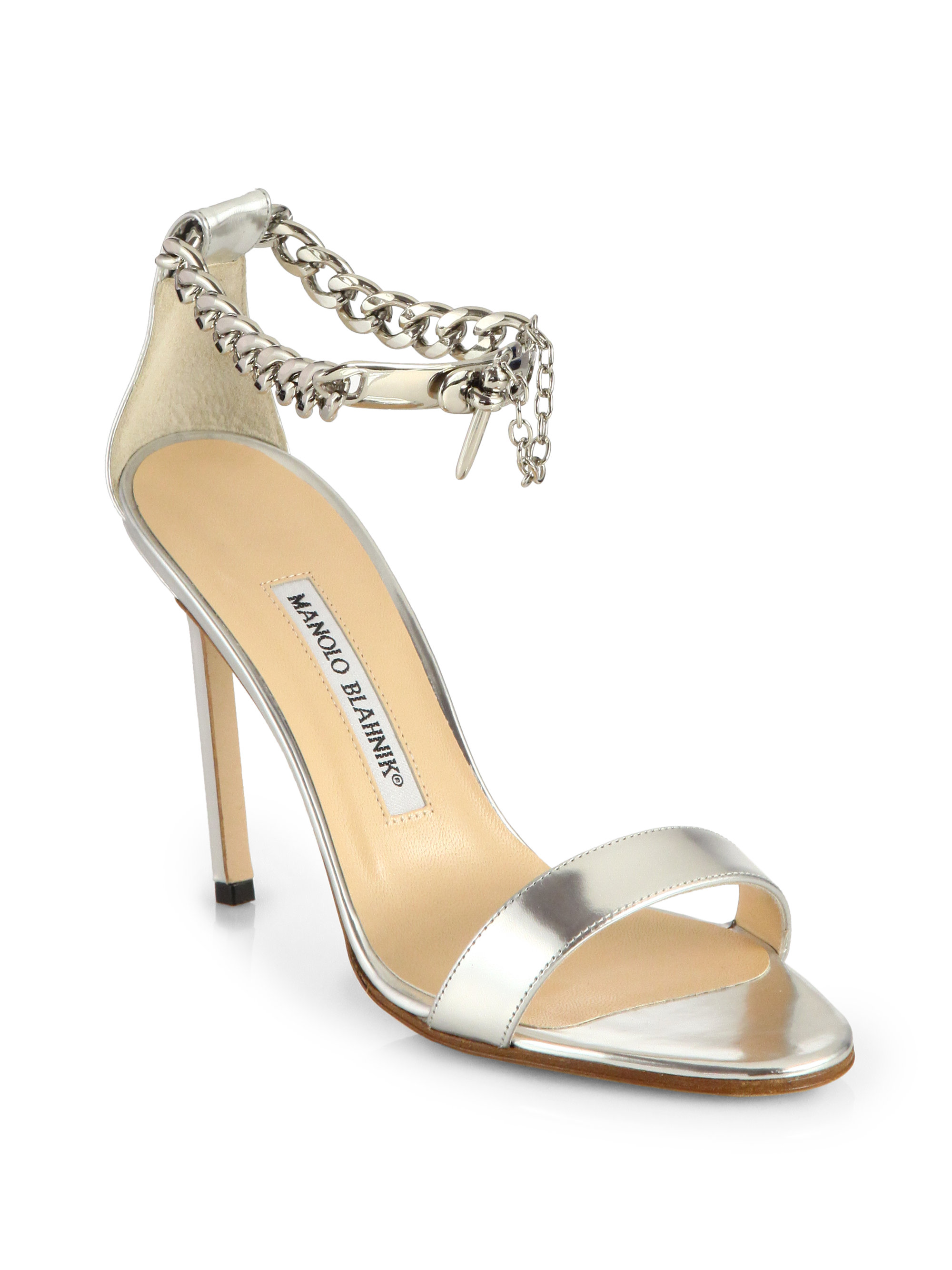 Manolo blahnik chaos metallic leather ankle chain sandals for Who is manolo blahnik