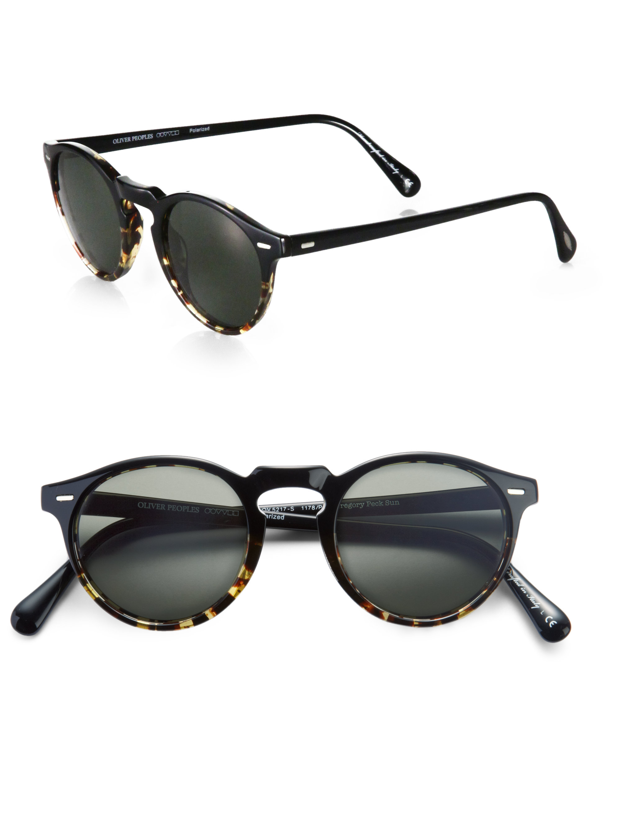 Gregory Peck Sunglasses  oliver peoples gregory peck round polarized sunglasses in black lyst