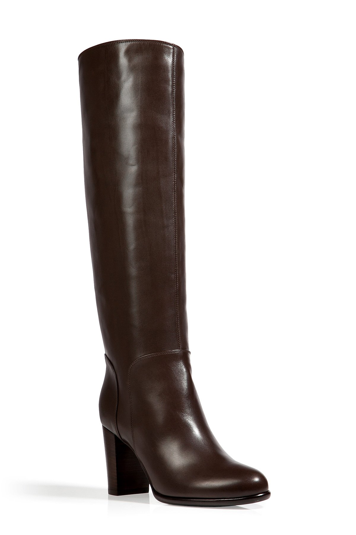 Sergio Rossi Leather Tall Boots In Ebony In Brown Lyst