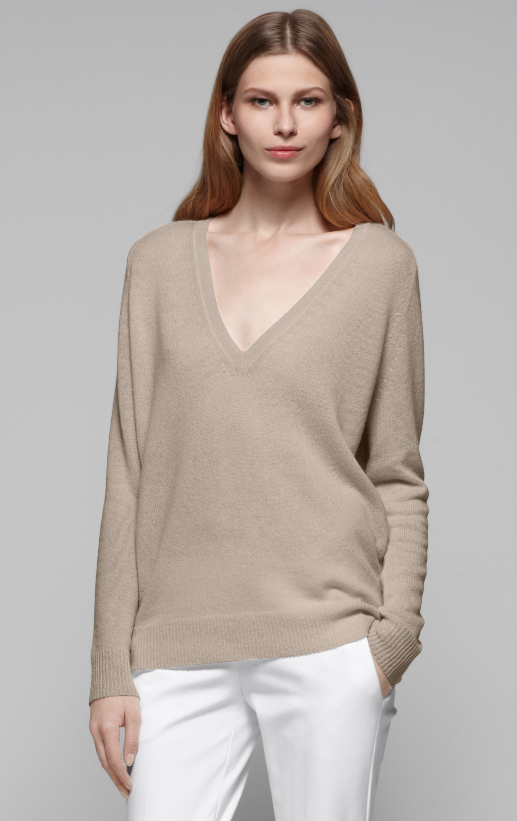 Theory Adrianna Cashmere Sweater in Natural | Lyst