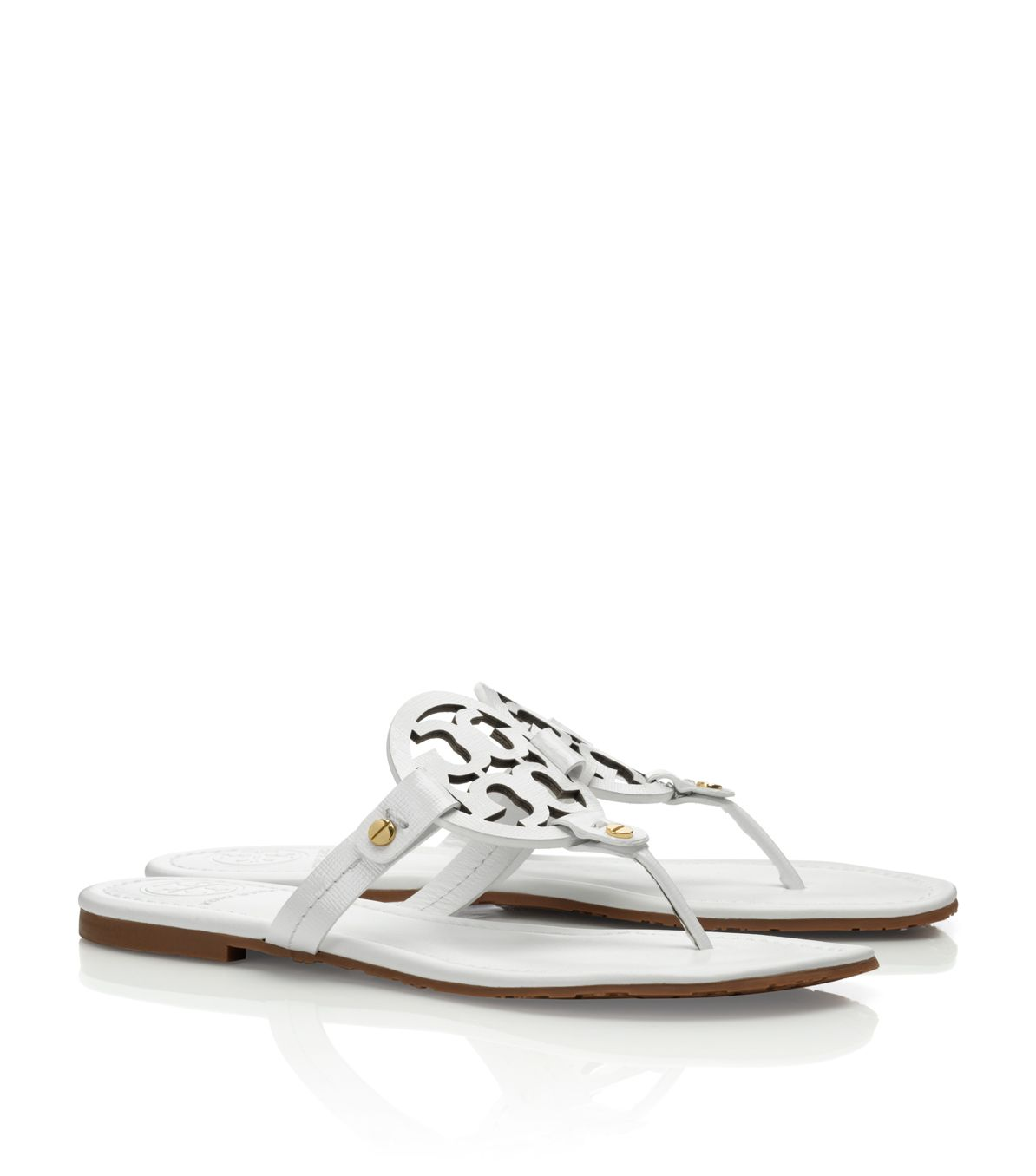 11f468228 Lyst - Tory Burch Patent Leather Miller Sandal in White