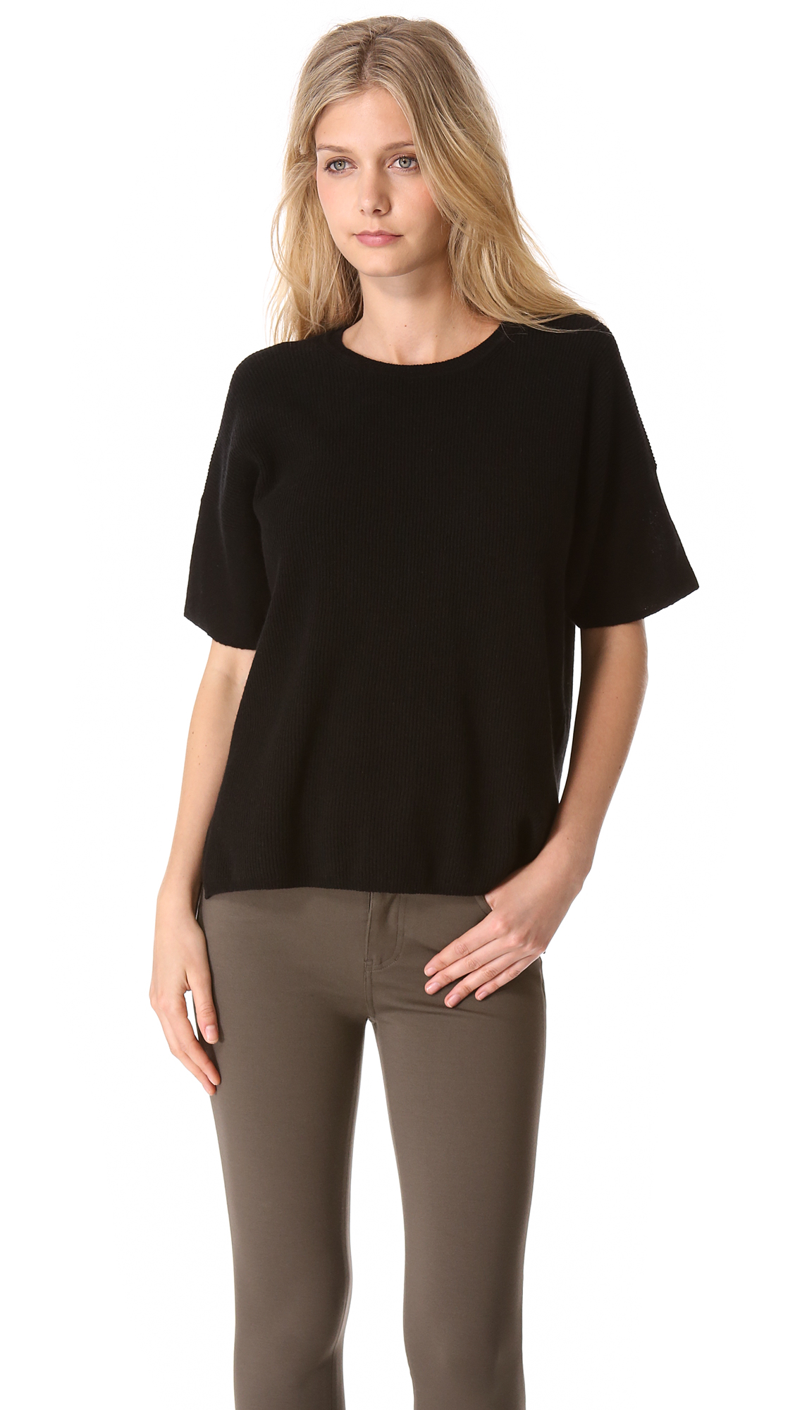 Vince Short Sleeve Cashmere Sweater in Black | Lyst
