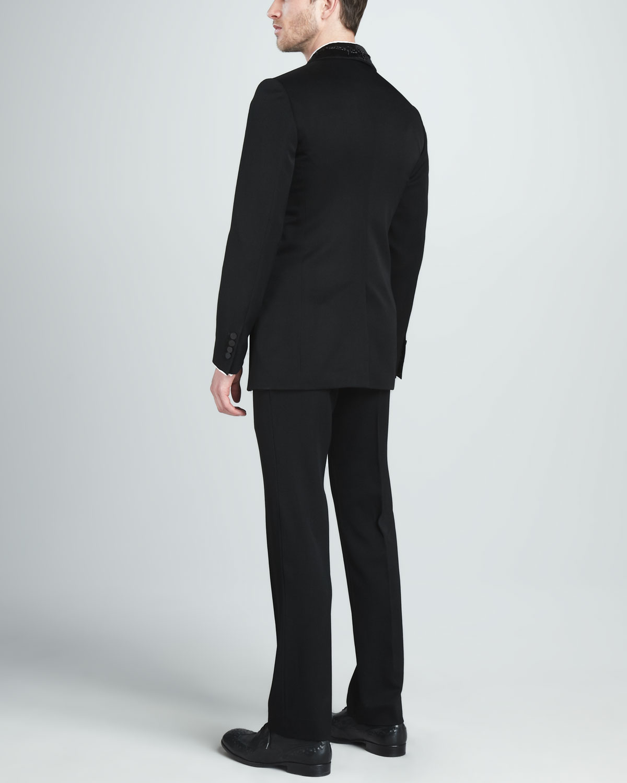 Alexander Mcqueen Wool Mohair Dress Pants In Black For Men