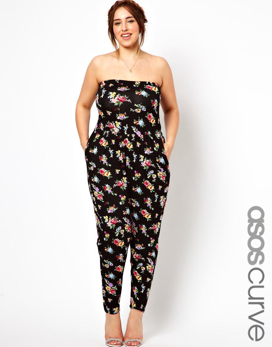 Lyst - Asos Curve Exclusive Bandeau Jumpsuit in Floral ...