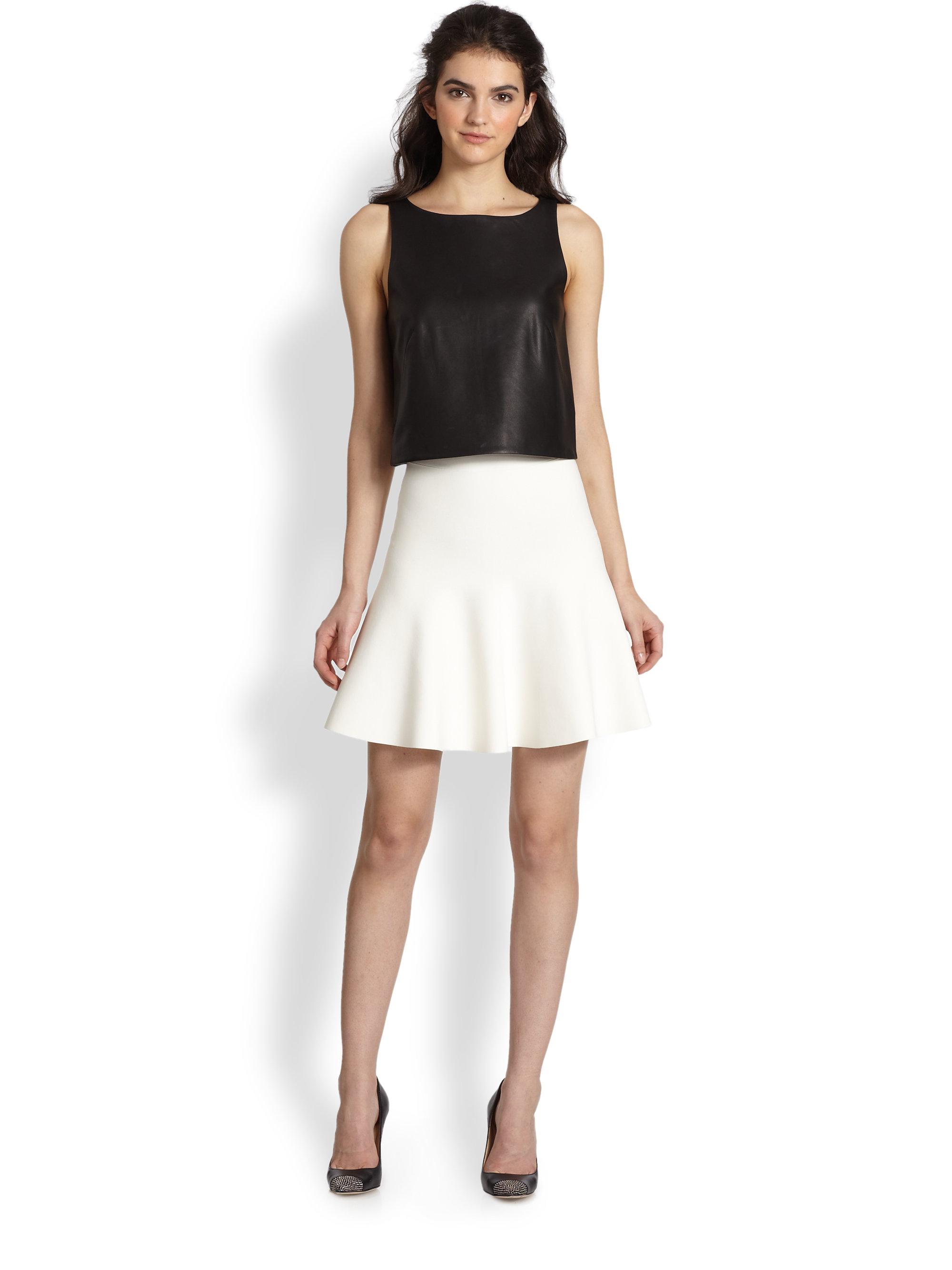Bcbgmaxazria Flared Stretch Knit Skirt in White | Lyst