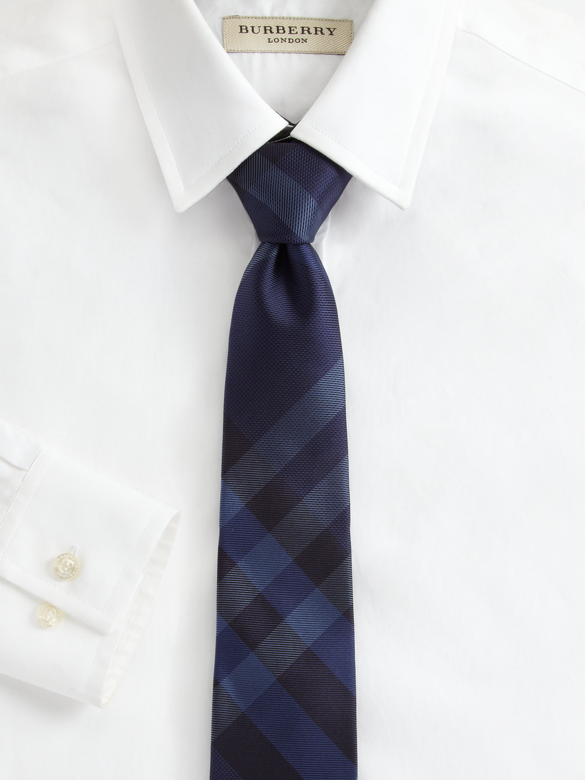 burberry silk checkprint tie in blue for lyst