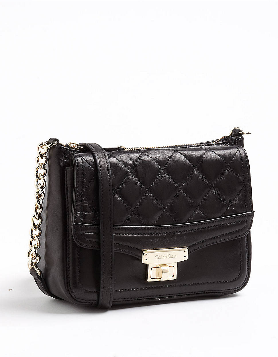 Lyst Calvin Klein Leather Quilted Crossbody Bag In Black