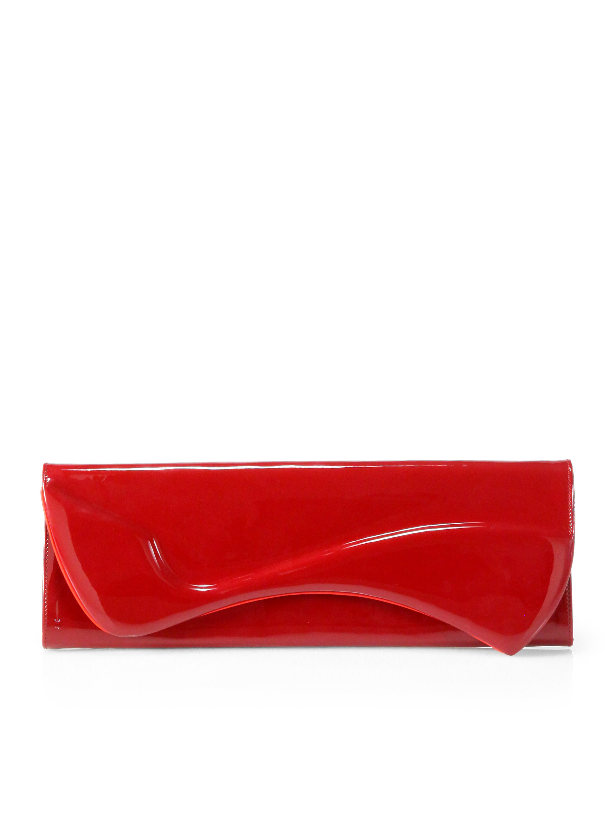 Christian louboutin Pigalle Patent Leather Clutch in Red | Lyst