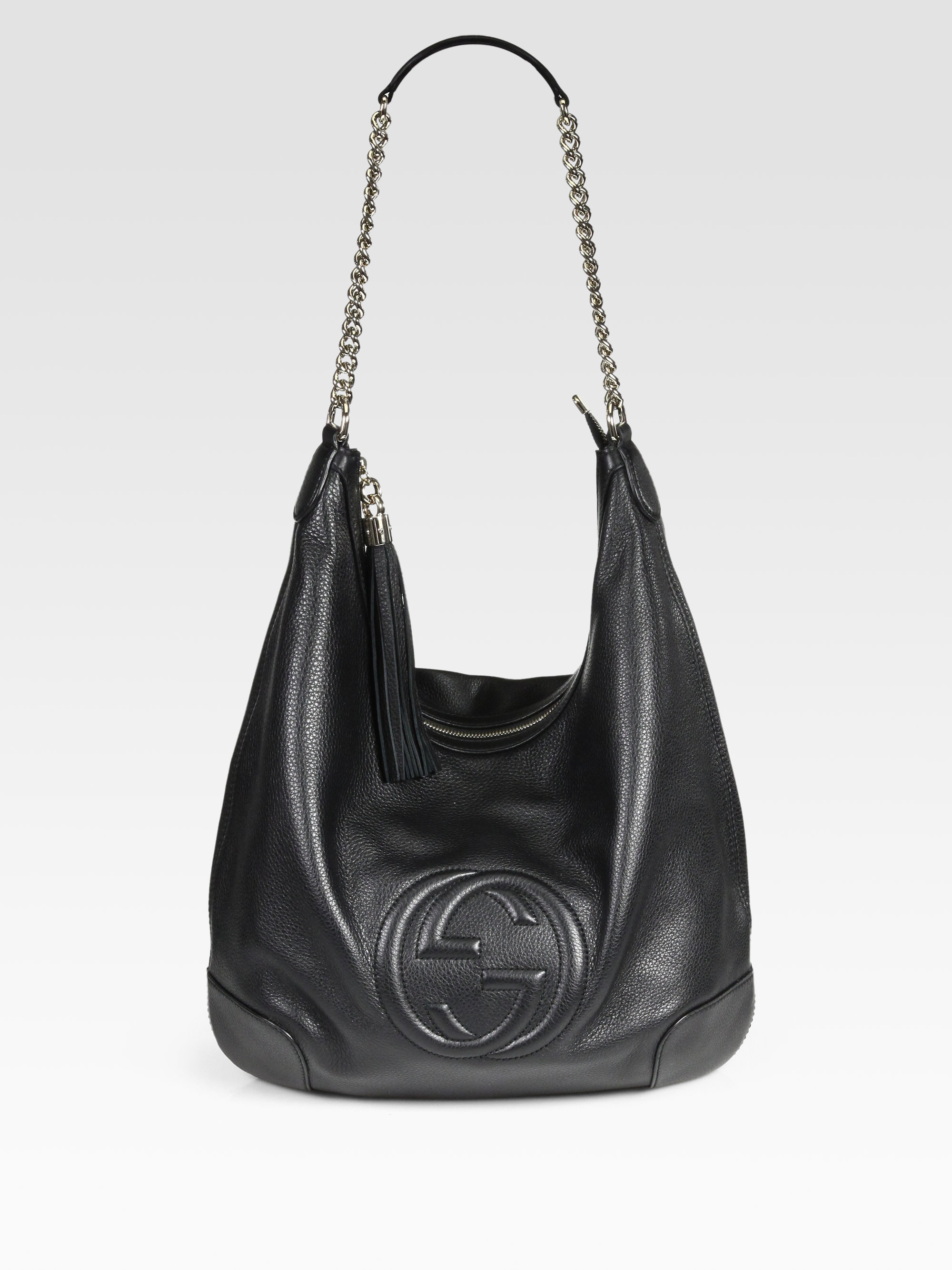 Gucci Soho Leather Chain Hobo Bag in Black | Lyst