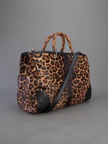 gucci leopard print tote in animal leopard lyst