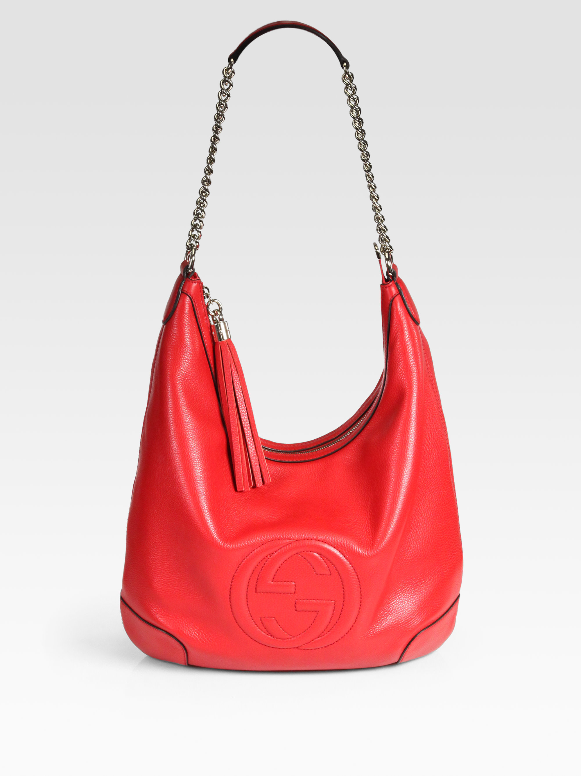 Gucci Soho Leather Chain Hobo Bag in Red | Lyst