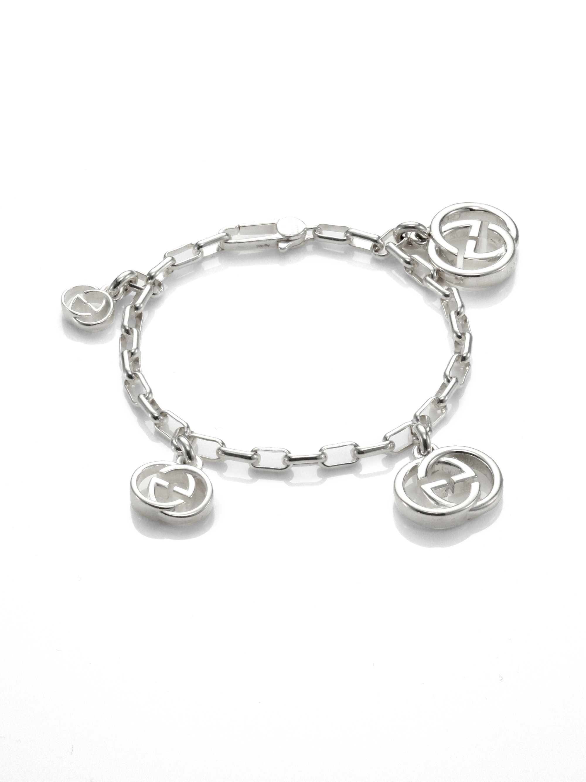 c7295d1df Gucci Double G Sterling Silver Graduated Charm Bracelet in Metallic ...