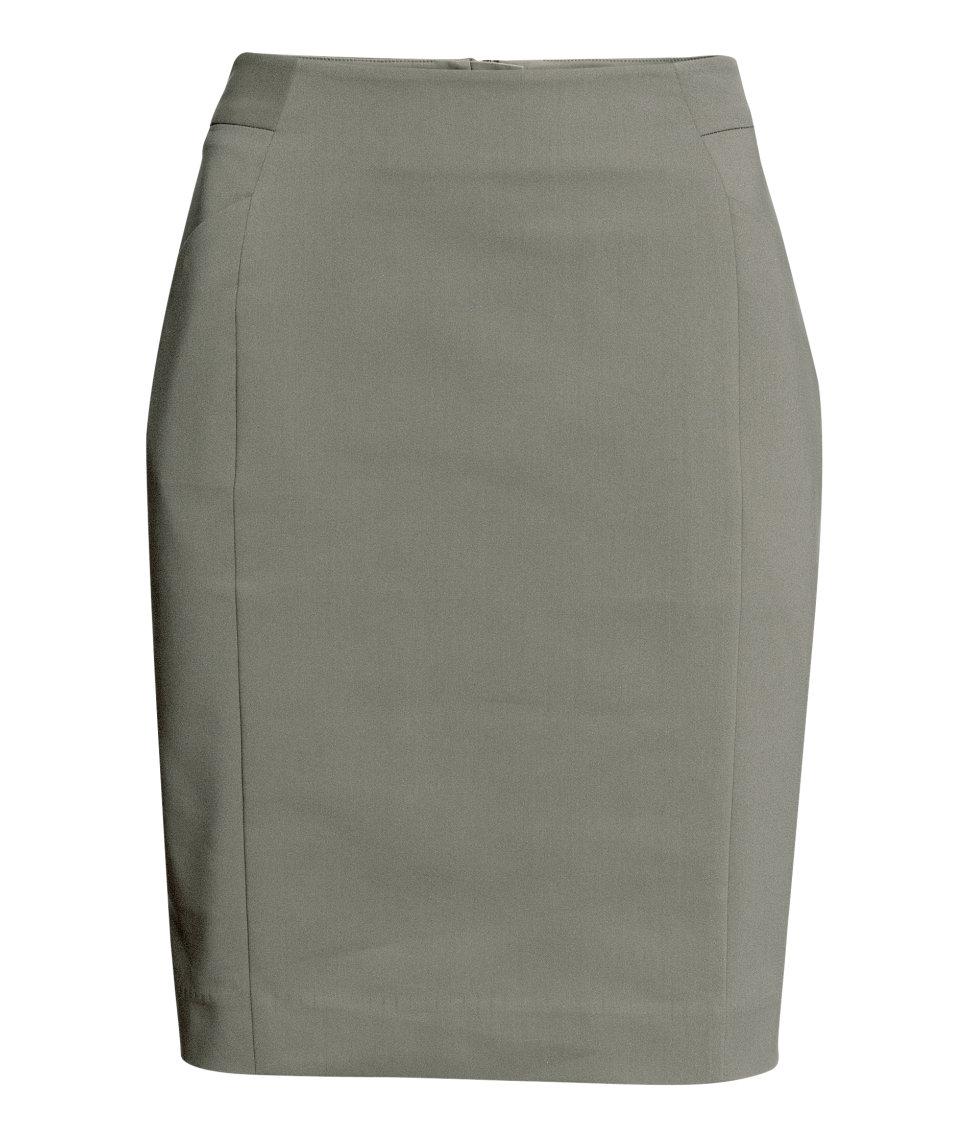 h m stretch pencil skirt in gray khaki lyst