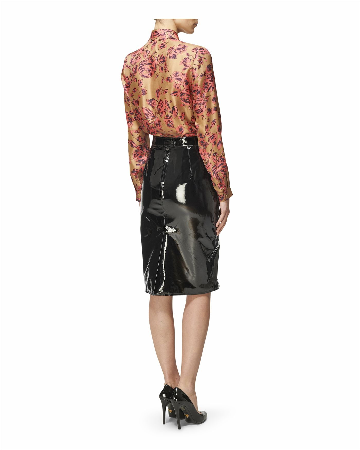 Jaeger Patent Leather Pencil Skirt in Black | Lyst