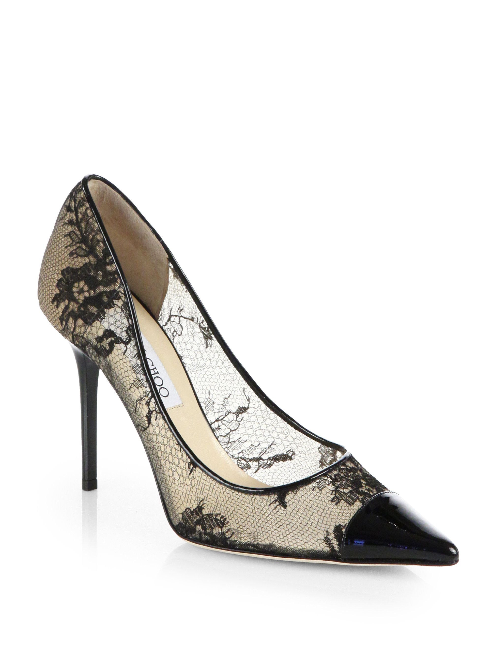 pay with paypal Jimmy Choo Patent Leather-Trimmed Lace Pumps wholesale online 0w8j3n