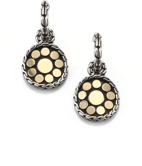 John hardy sterling silver 18k gold drop earrings in gold for John hardy jewelry earrings