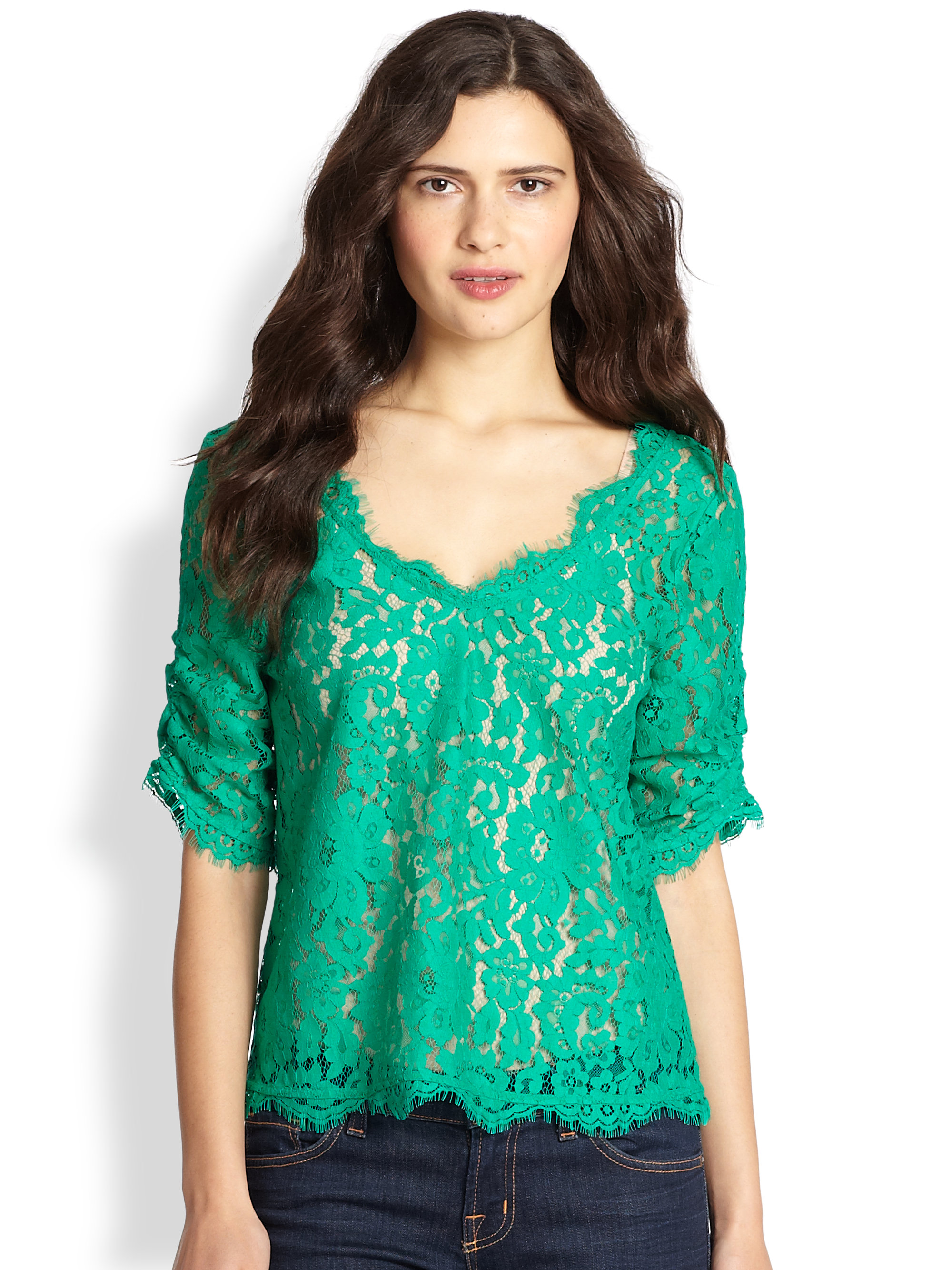 Lyst - Joie Nevina Lace Top in Green
