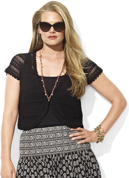 Lauren By Ralph Lauren Plus Pointelle-knit Linen Sweater in Black