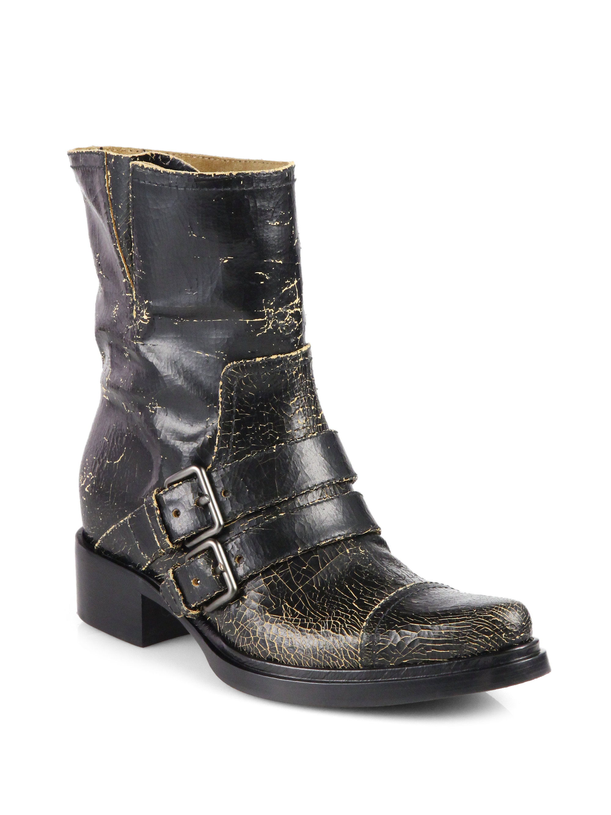 miu miu distressed leather motorcycle boots in black