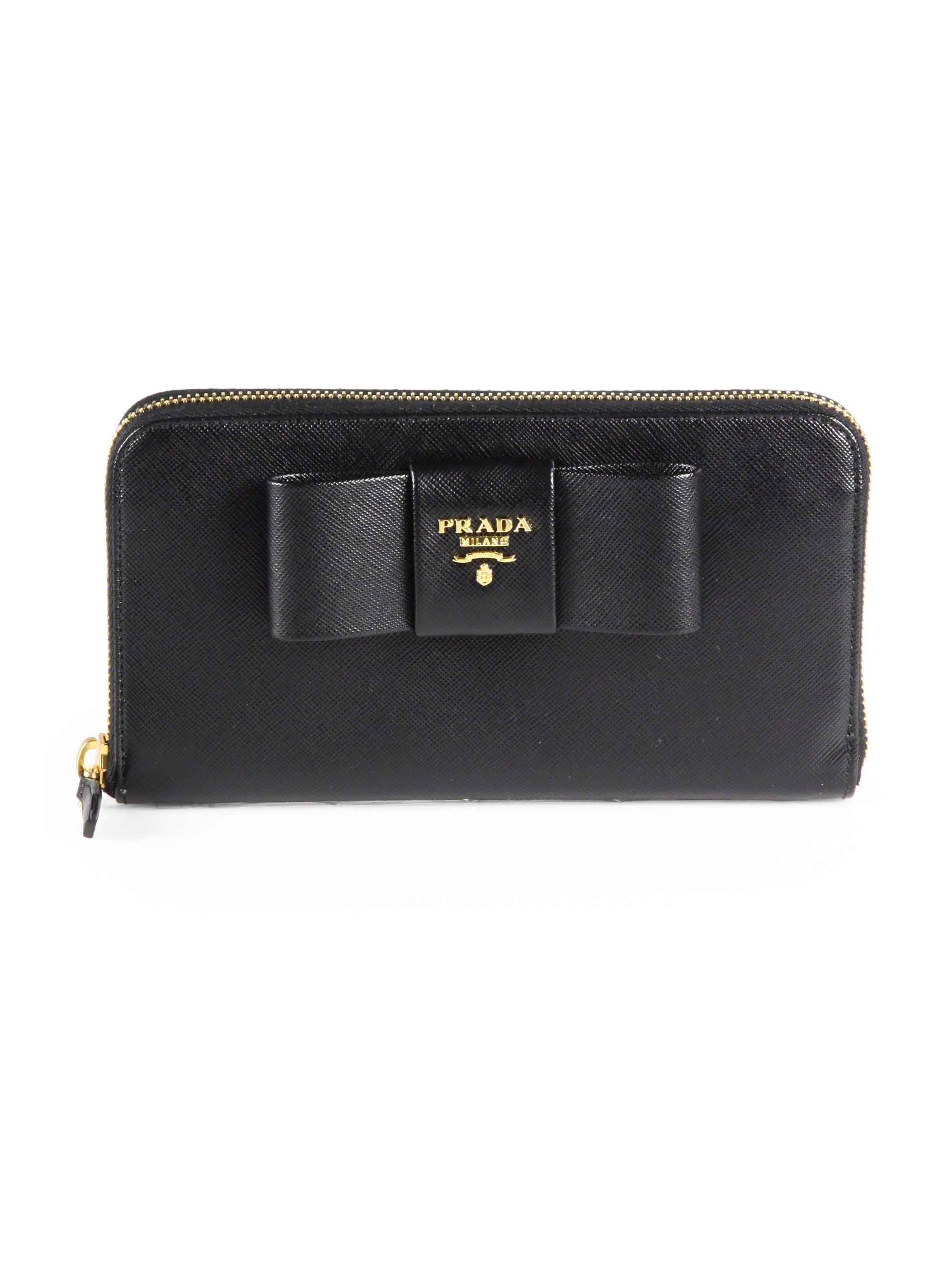 7ed59b9a19231a ... czech lyst prada saffiano bow zip around wallet in black 38115 aa4dc