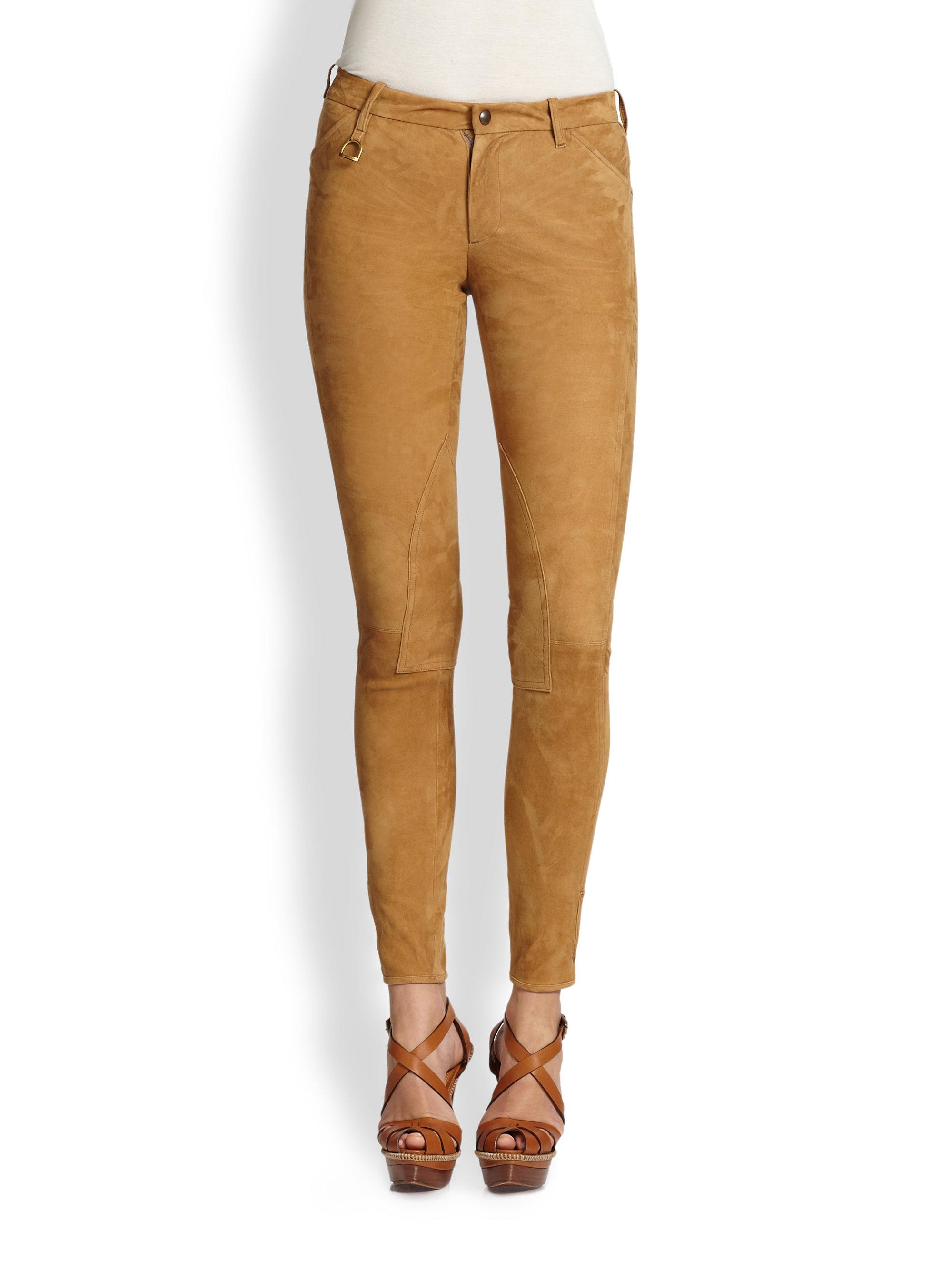 Ralph Lauren Blue Label Suede Palermo Jodhpur Pants In