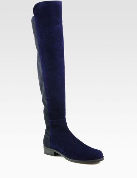 stuart weitzman 5050 bicolor suede kneehigh boots in blue