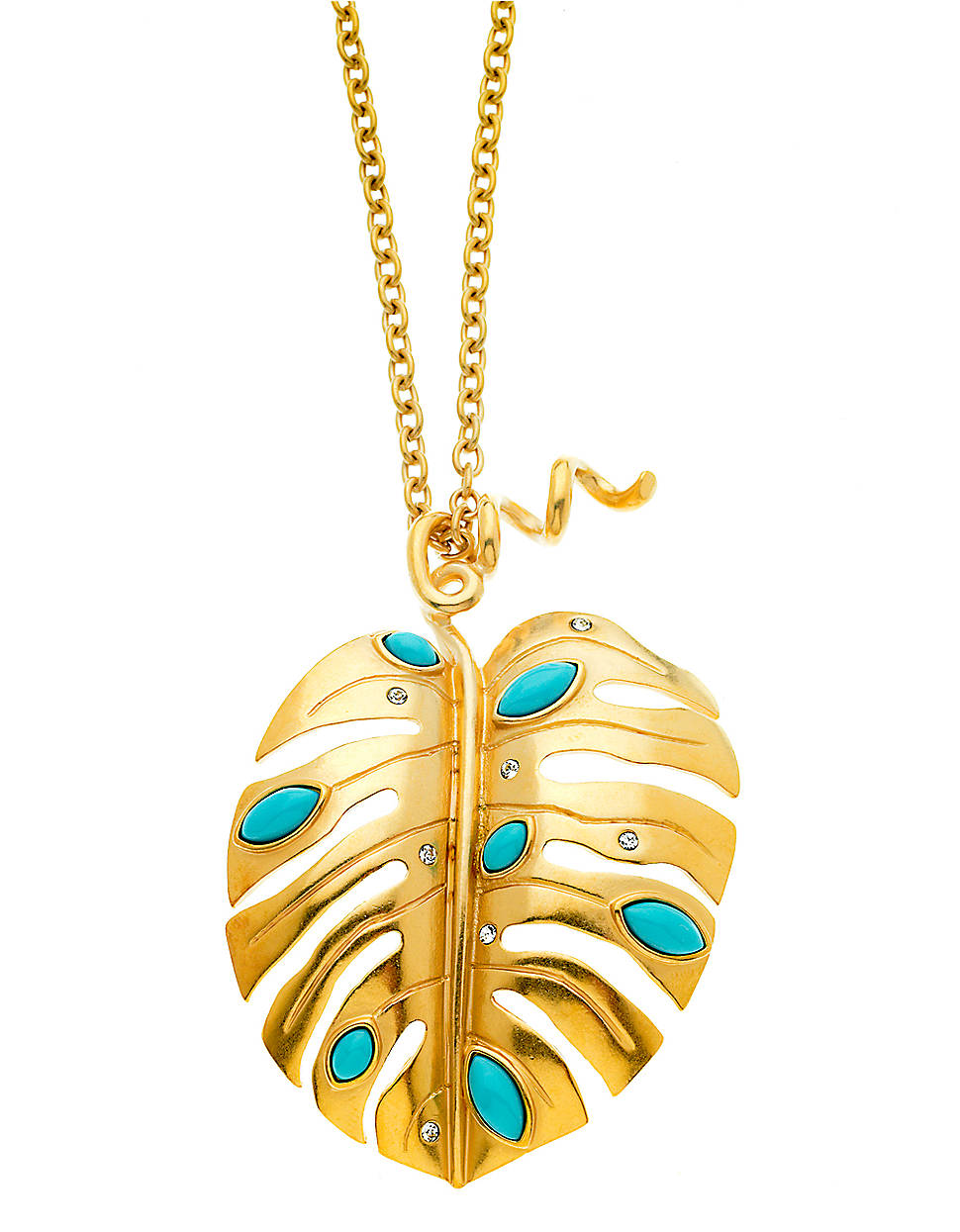 Lyst t tahari 14 kt gold plated leaf pendant necklace in metallic gallery aloadofball Choice Image