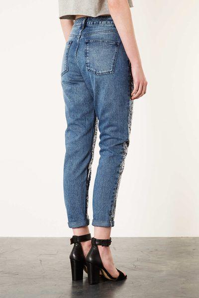 topshop moto sequin mom jeans in blue mid stone lyst. Black Bedroom Furniture Sets. Home Design Ideas