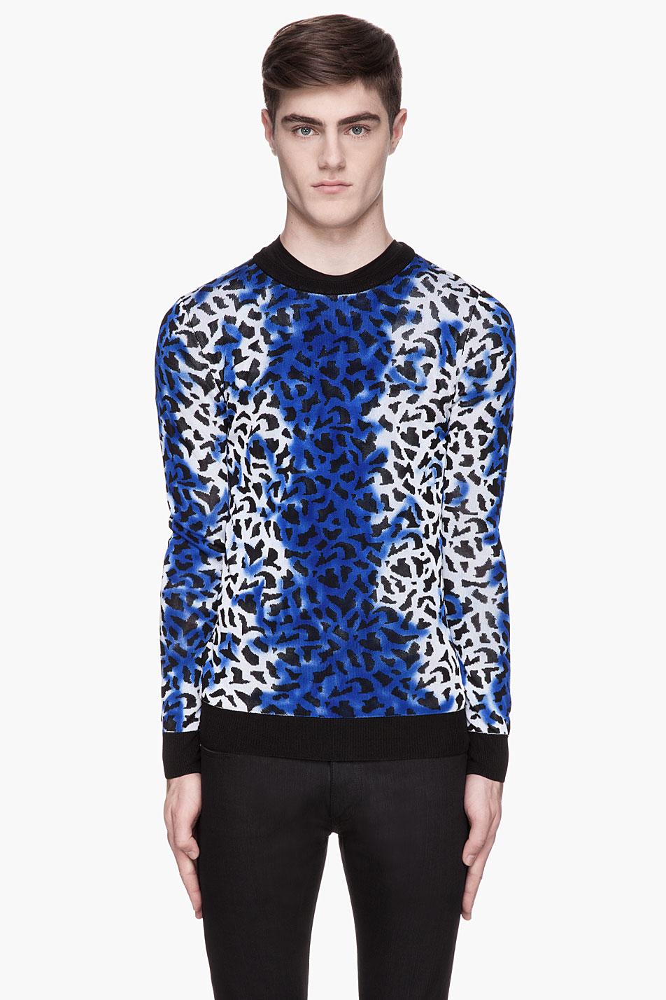 Versus Mottled Blue Leopard Print Sweater in Blue for Men | Lyst