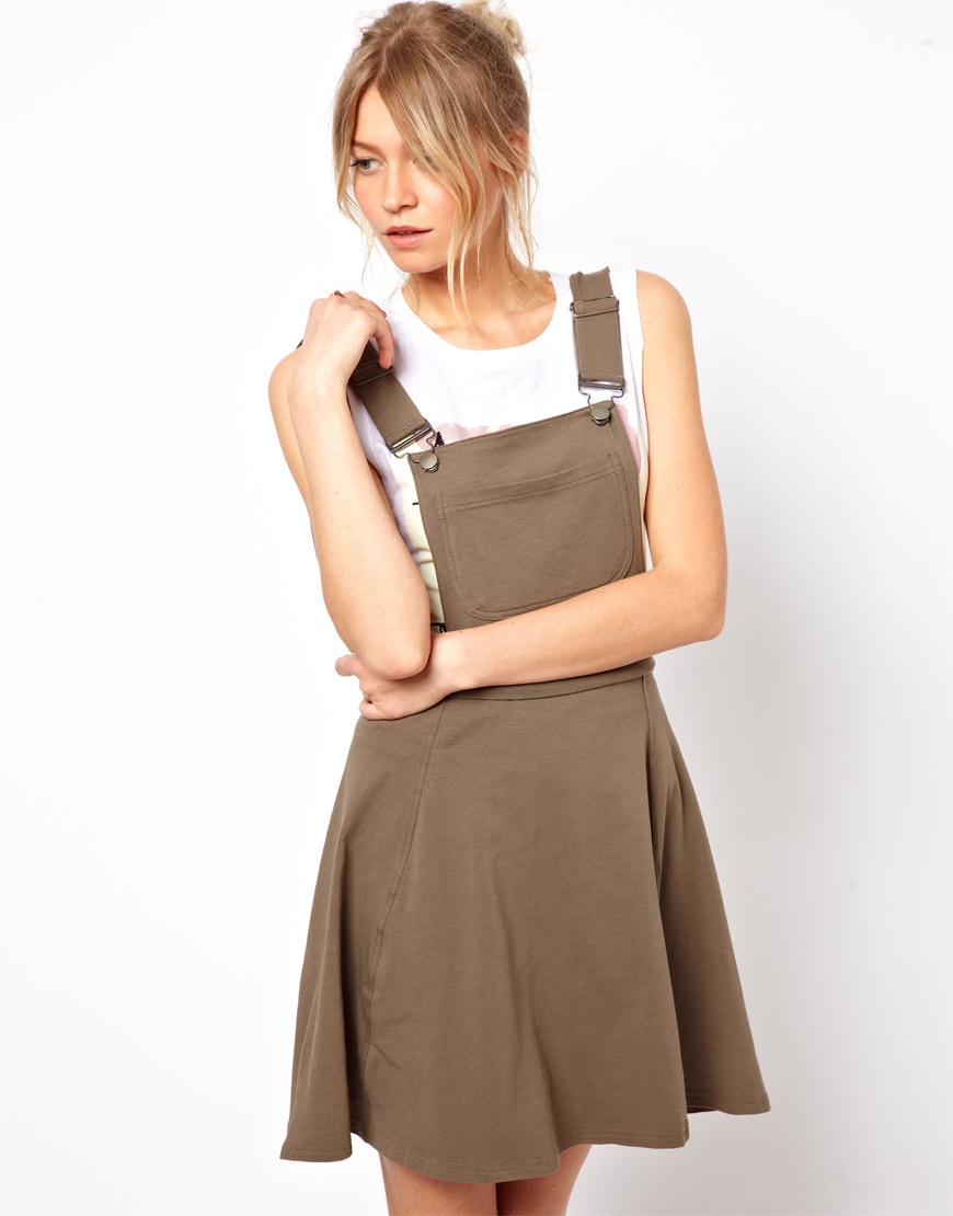 Lyst asos pinafore dress in natural gallery ombrellifo Choice Image