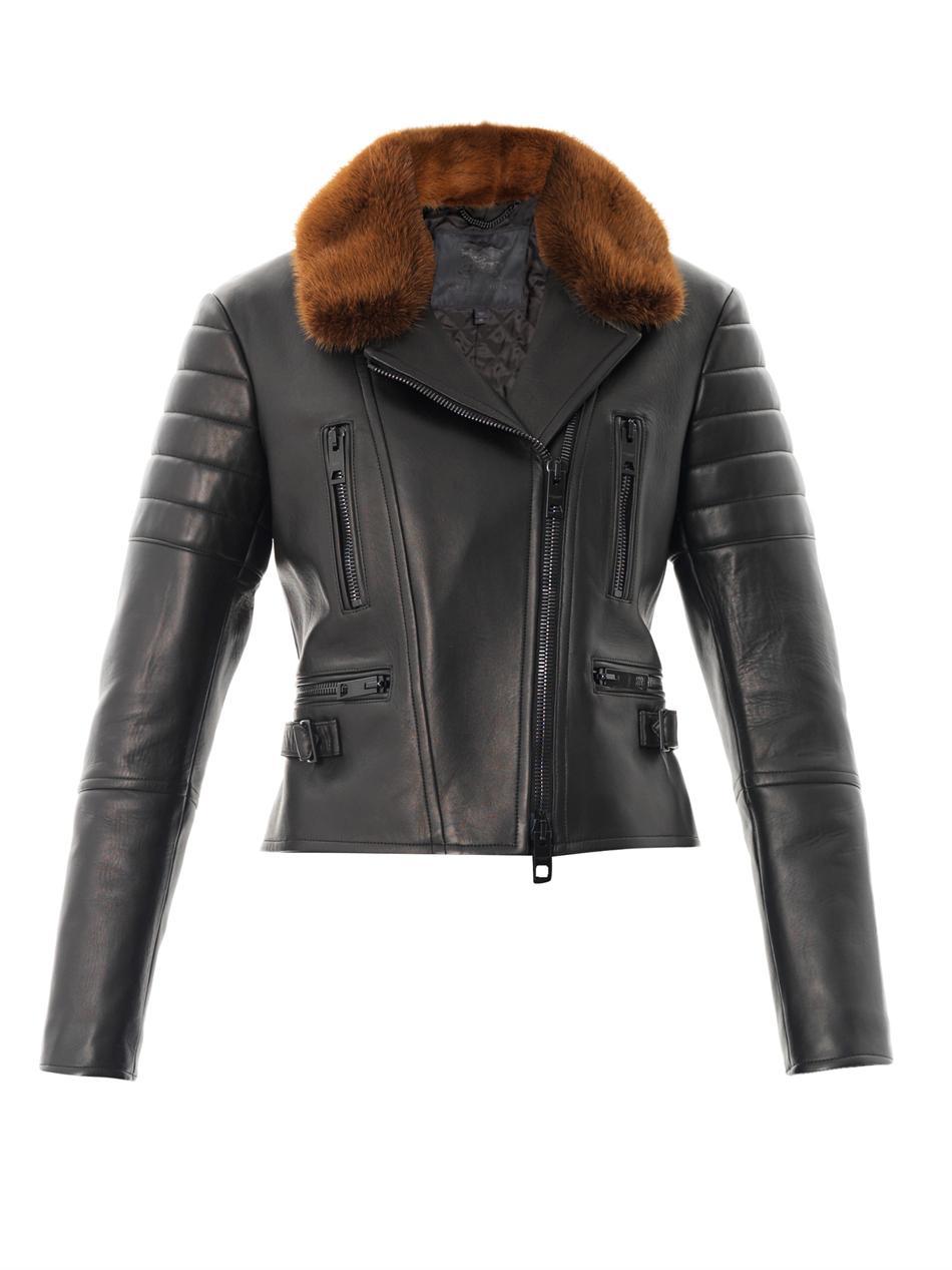Burberry prorsum Mink Collar Leather Jacket in Black | Lyst