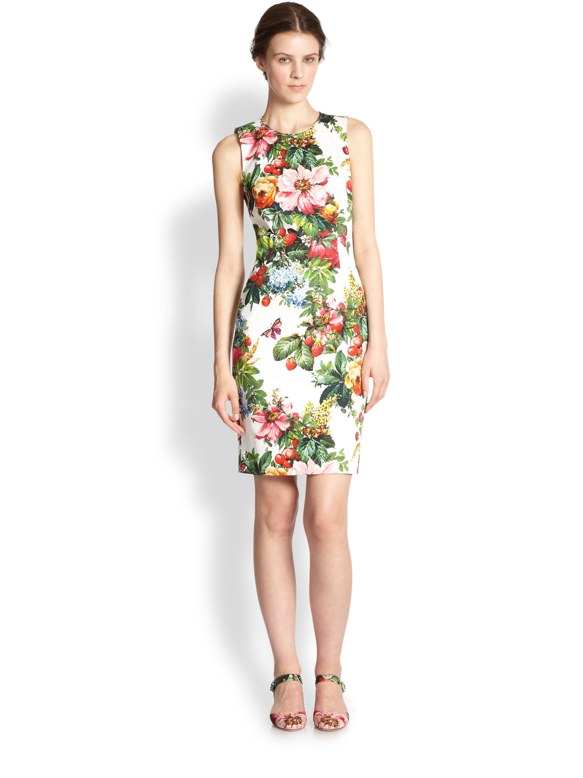Lyst - Dolce   Gabbana Floral print Stretch Cotton Dress dfb9745a2