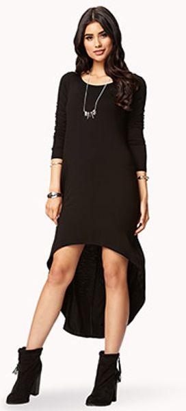 forever 21 long sleeve highlow dress in black lyst