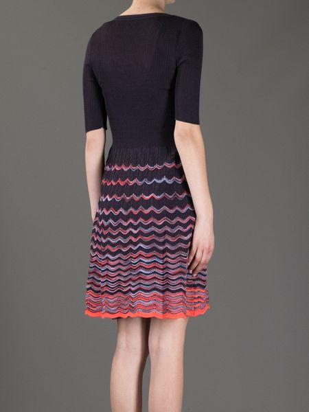 Violet Dress Knitting Pattern : M Missoni Chevron Knit Dress in Purple Lyst