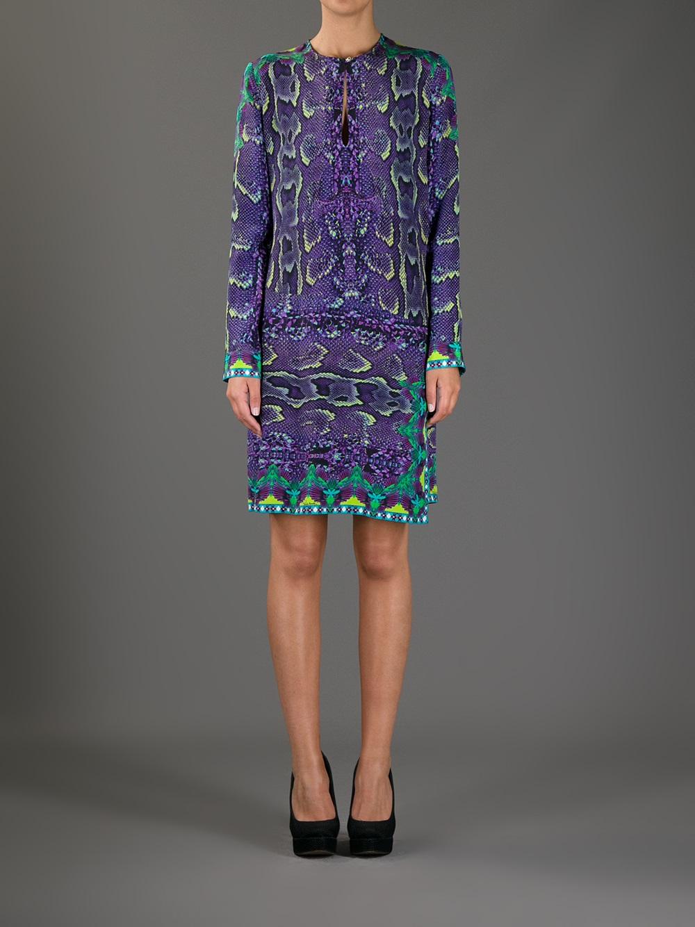 Roberto Cavalli Snakeskin Print Dress In Purple Lyst