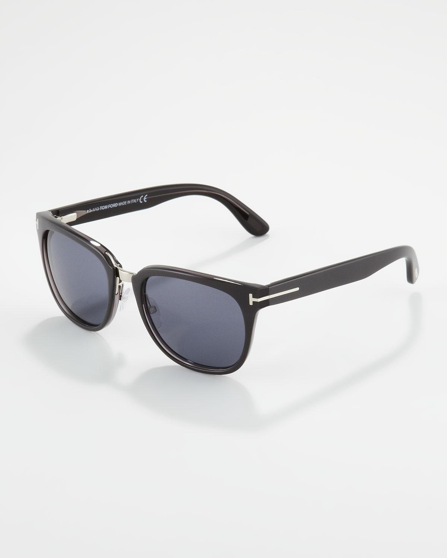 Tom ford Rock Clubmaster Sunglasses Shiny Gray in Black (SHINY GREY) | Lyst