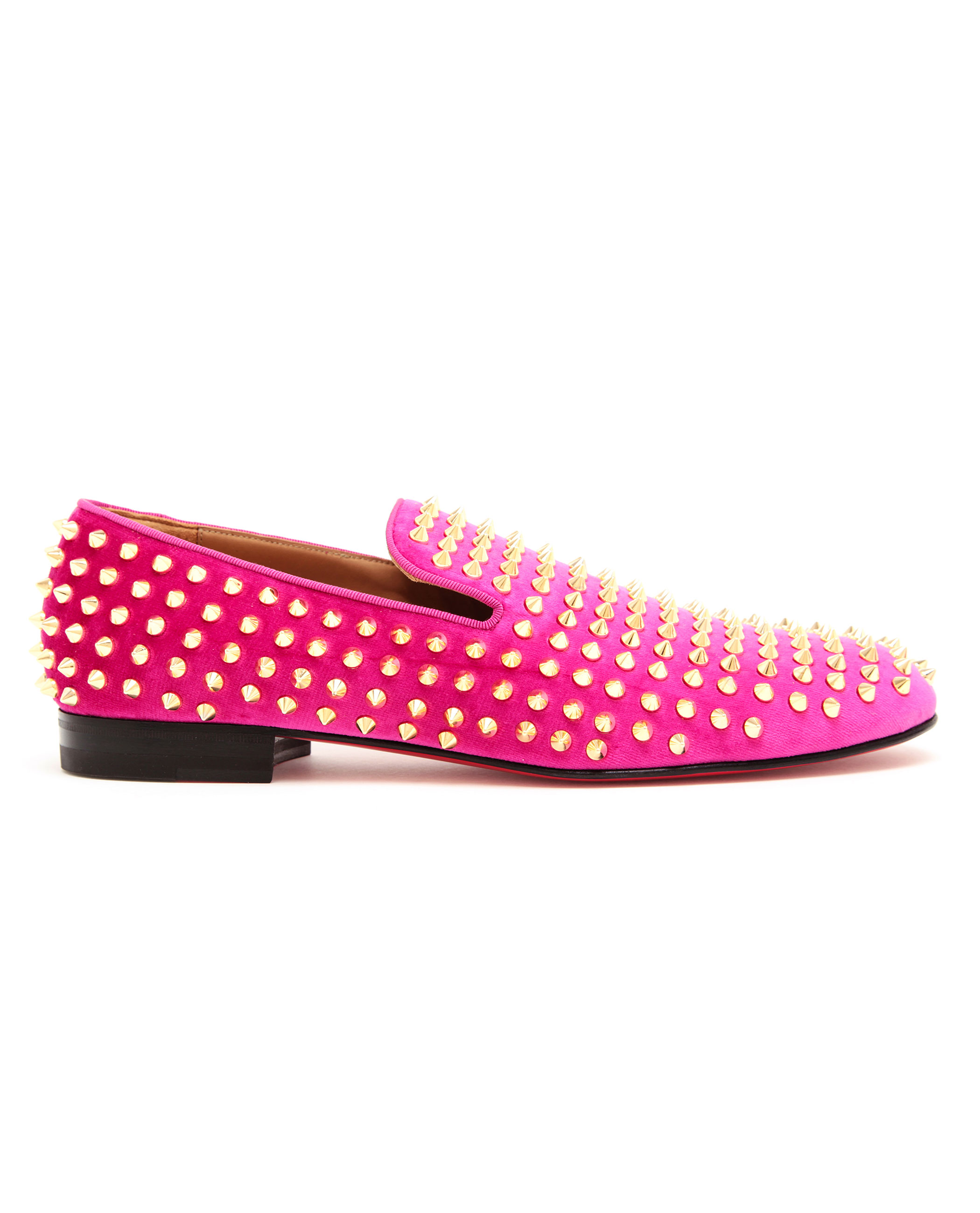 6ecc185fa9a Christian Louboutin Roller-boys Spiked Velvet Loafers in Pink for ...