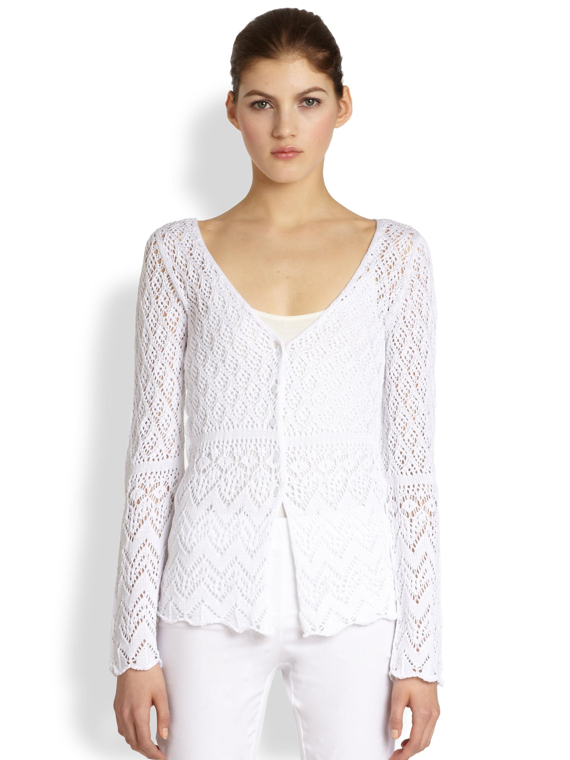 Lyst Philosophy Crochet Knit Cardigan In White